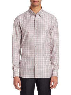 Plaid Traveler Button-Down Shirt
