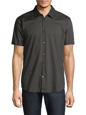 Cotton Medallion Casual Button-Down Shirt