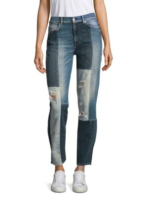 Distressed Patchwork Jeans