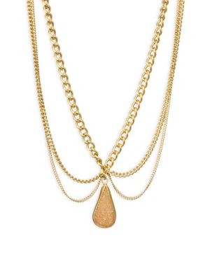 Scalloped Agate Pendent Necklace