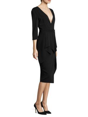 Pinstripe V-Neck Dress