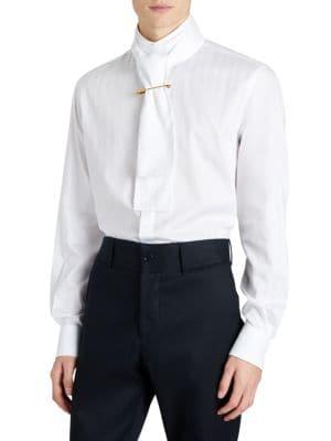 Shawl Collar Cotton Button-Down Shirt