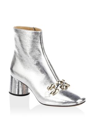 WOMEN'S REMI LEATHER & CHAIN LINK ANKLE BOOTIES