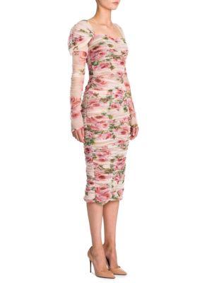 Tulle Floral-Print Cotton Dress