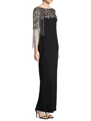 Embellished Beaded Fringe Gown