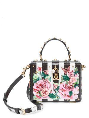 Embellished Rose & Checker Bag