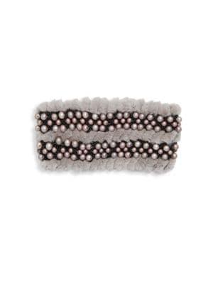 GLAMOURPUSS Embellished Rabbit Fur Headband