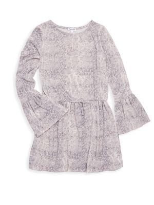 Girl's Python-Print Bell Sleeve Dress