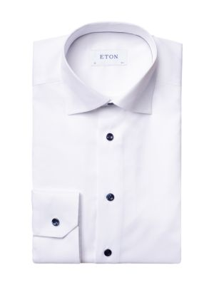 Slim-Fit Twill Dress Shirt with Navy Details