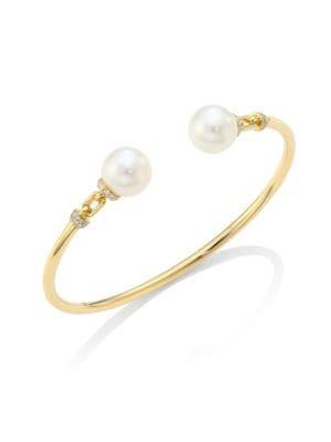 YOKO LONDON Freshwater Pearls & 18K Gold Bangle