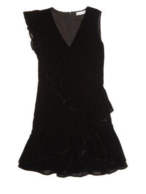 SCRIPTED Velvet Ruffle Mini Dress
