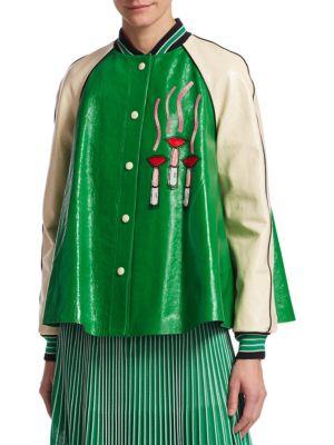 Lipstick Logo Trapeze Leather Jacket