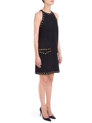 STUDDED HALTERNECK SHIFT DRESS