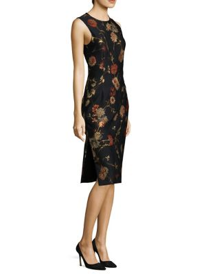 Floral Jacquard Sheath Dress