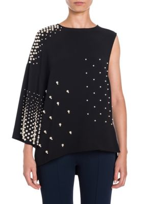 Pearl Stud One-Shoulder Blouse