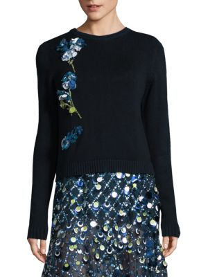 Floral Embellished Wool Sweater