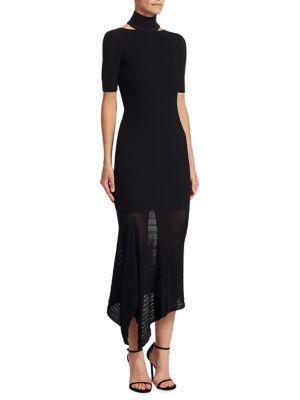 Turtleneck Asymmetrical Dress
