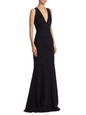 Silk Beaded V-Neck Gown