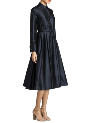 SILK SHANTUNG MIDI DRESS