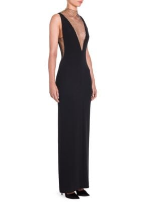 PLUNGING SLEEVELESS CREPE EVENING GOWN W/ RHINESTONE NETTING