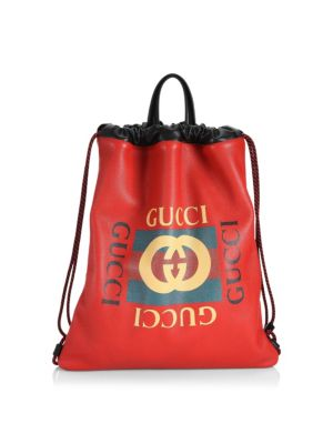 Logo Leather Drawstring Backpack