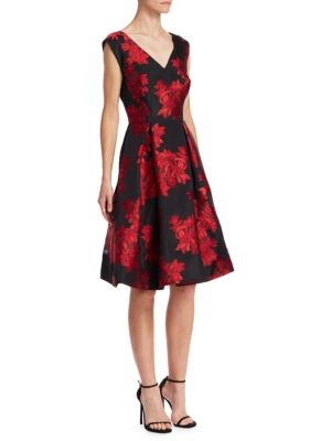 Floral Fit-And-Flare Cocktail Dress