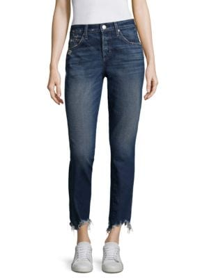Lover Slightly Distressed Raw-Hem Straight Jeans