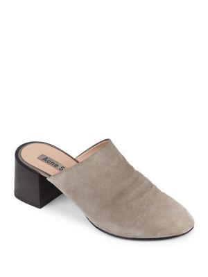 Textured Suede Mules