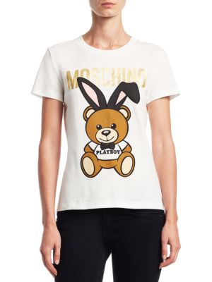 b4972228 MOSCHINO LOGO PLAYBOY BEAR COTTON TEE, WHITE | ModeSens