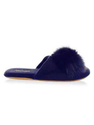 Fox Fur Pom-Pom Slides