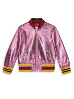 Little Girl's Metallic Leather Bomber Jacket