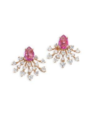 Diamond, Sapphire & 18K Rose Gold Stud Earrings