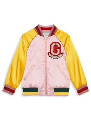 Girl's Colorblock Bomber Jacket