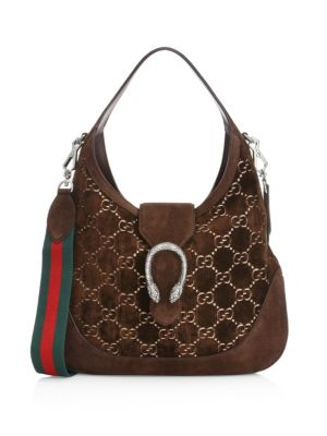 MEDIUM DIONYSUS GG VELVET HOBO - BROWN