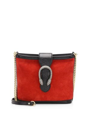 MEDIUM DIONYSUS SUEDE SHOULDER BAG - RED