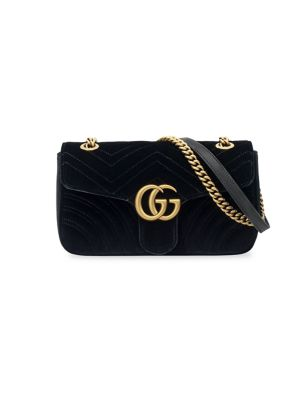SMALL GG MARMONT 2.0 MATELASSE VELVET SHOULDER BAG - BLUE