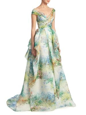 Watercolor Off-The-Shoulder Ball Gown