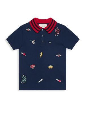 Little Boy's & Boy's Embroidered Patch Polo