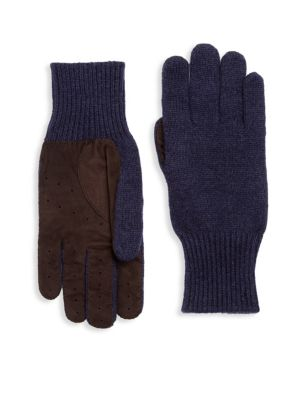 Cashmere Suede Rib-Knit Gloves