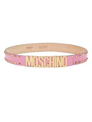 Studded Logo Leather Belt
