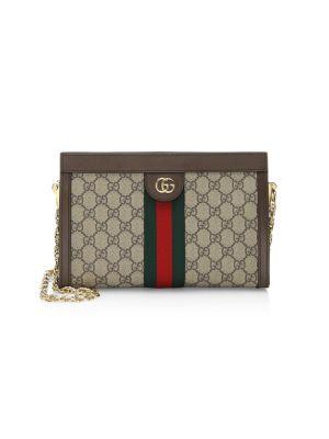 Ophidia Textured Leather-trimmed Printed Coated-canvas Shoulder Bag - Beige Gucci LmD4r