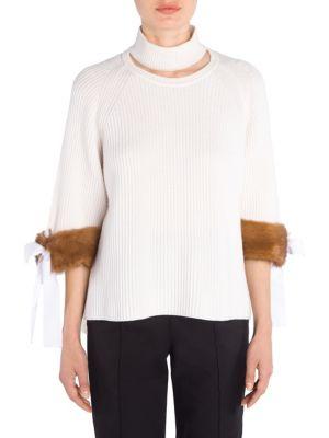 Cashmere Rib-Knit Mink Cuff Knit Sweater