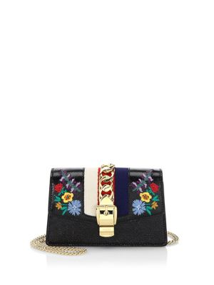 Embroidered Floral Leather Clutch