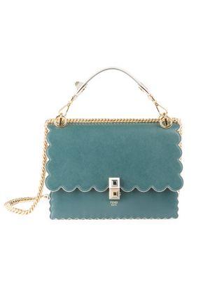 Scalloped-Edge Leather Crossbody Bag