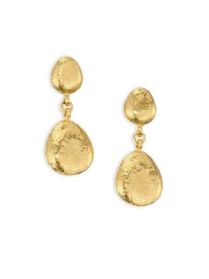 22K Gold Double Pebble Drop Earrings