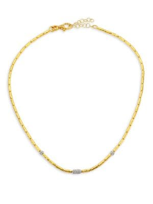 Vertigo 24K Gold & Diamond Single Strand Necklace