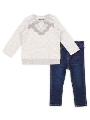 Baby's & Toddler's Two-Piece Lace Sweatshirt & Skinny Jeans Set