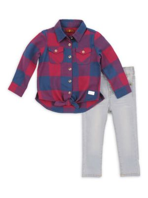 Baby Girl's & Toddler's Two-Piece Plaid Collared Shirt & Skinny Jeans Set