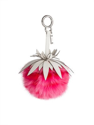 Rabbit & Fox Fur Pineapple Bag Charm by Fendi