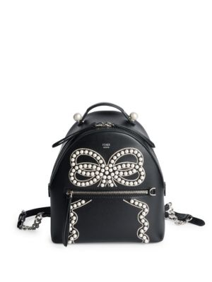 Ribbon and Pearls Mini Leather Backpack